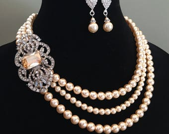 Pearl Necklace with Brooch and Earrings Set 3 strands Swarovski Pearls in Light Gold with Art Deco rhinestone choice of color wedding bridal