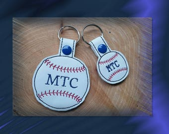 Personalized Baseball Key Fob, Key Chain, Luggage Tag, Bag Clip, Vinyl, Key Ring, Purse Charm, Snap Tab