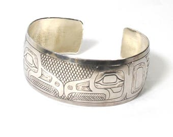 Vintage Signed Northwest Coast Southeast Alaska Tlingit or Haida Eagle Cuff Bracelet