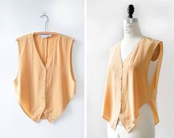 Silk Tank Top M • 80s Blouse • Vintage Silk Shirt •80s Tank Top •Flowy Tank Top •Summer Blouse • Light Orange Blouse | T852