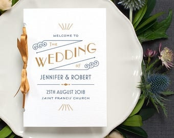 Art Deco Wedding Program / Pocket-sized Order of Service 1920s Mass Booklet / Navy Blue and Gold / Custom Colours Available / ONE SAMPLE