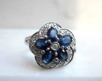 Estate Diamond and 14k White Gold Blue Sapphire Flower Engagement Ring, Size 6