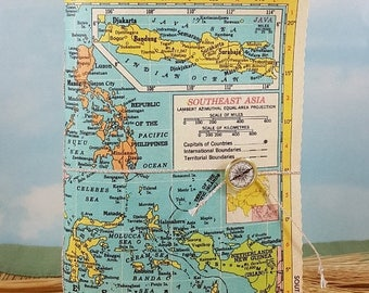 Travel Sale Southeast Asia Map Travel Journal with Vintage Hammond Atlas Colorful Map Canvas Cover