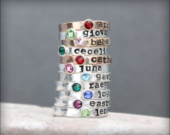 Hand Stamped Stacking NAME RING - birthstone ring, kids name ring, gold, rose gold, posey, mother's ring, hand stamped stacking ring