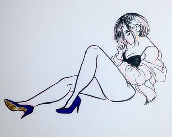 Blue heels illustration