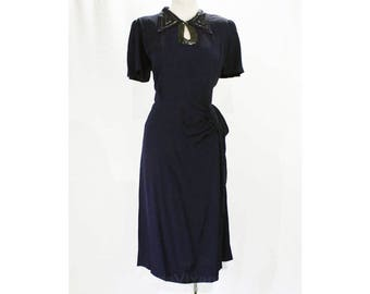 Size 12 40s Dinner Dress - 1940s Navy Blue Crepe Beaded & Swagged Evening Cocktail - Large WWII Era Hollywood Style - Bust 40 - 49211