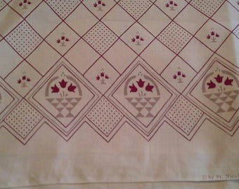 Pretty Dark Red Border Print on Natural Background Cotton Fabric 2 1/2 Yards  X1002