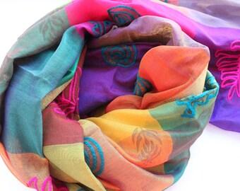 Indian vintage dupatta Long Stole cotton Multicolor hand embroidered woven wrap veil. SCM007