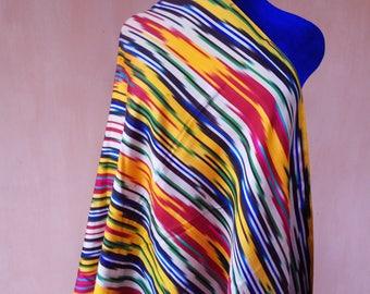 Uzbek vintage pure silk ikat fabric. Han atlas, tribal, ethnic fabric 202cm. VMI002