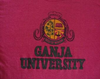 Vintage 80's Jamaica Ganja University paper thin Reggae weed of wisdom smoking 50/50 tourist punk rock T Shirt Adult size M
