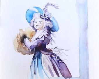 Blue vintage dress. Original watercolor.