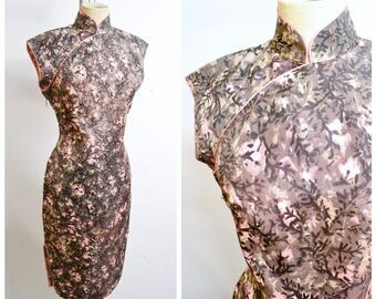 1950s Mid century print mushroom pink cheongsam / 50s grey printed rayon Asian mandarin collar wiggle dress - S