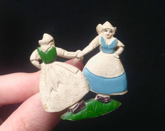 1930s 40s Carved painted galalith Dutch girls brooch / 1940s 30s casein dancing souvenir figures pin