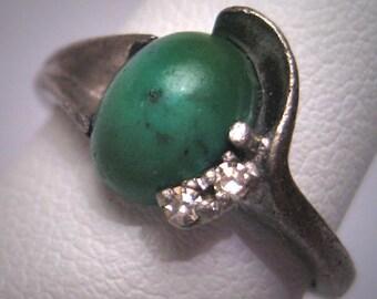 Estate Vintage Turquoise Diamond Ring Retro Art Deco Jewelry 1930 - Wedding Engagement