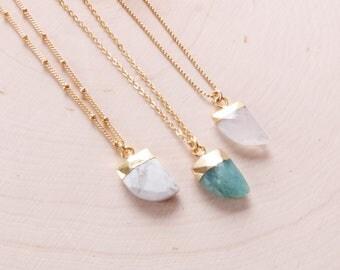 Horn Tusk Necklace | Boho Horn Necklace | Gold Tusk Necklace | Moonstone Necklace | Amazonite Necklace | Marble Necklace | Boho Necklace