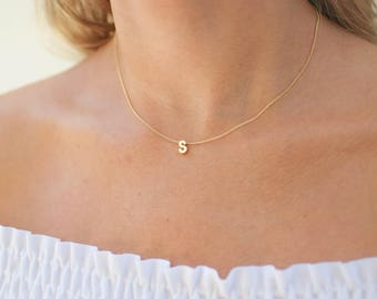 Gold Initial Necklace | Initial Necklace | Tiny Initial Necklace | Name Necklace | Gold Letter Necklace | Personalized Name Necklace