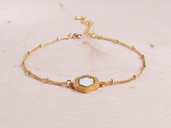 Hexagon Opal Bracelet in Gold