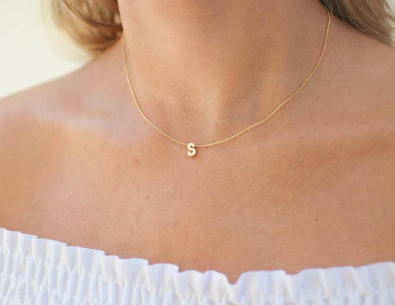 Gold Block Letter Necklace