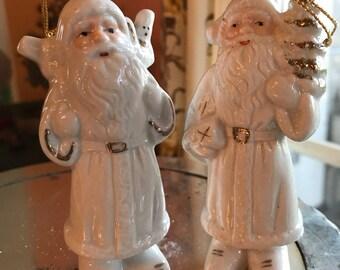 Two Vintage Father Christmas Ornaments / Vintage 1960s Christmas Tree Ornaments / Midcentury Modern Xmas Decor / Vintage Christmas / 1960s
