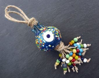 Large Pomegrabte Turkish Evil Eye Wall Hanging Home Garden Decoration with Evileye Traditional Artisan Beads