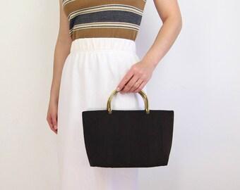 VINTAGE 1940s Handbag Black Corde Purse