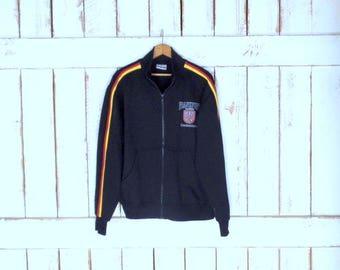 90s Frankfurt am Main Germany black/red/yellow striped zipper track suit sweatshirt/Deutschland/jogging/running jacket/gym sweater/large