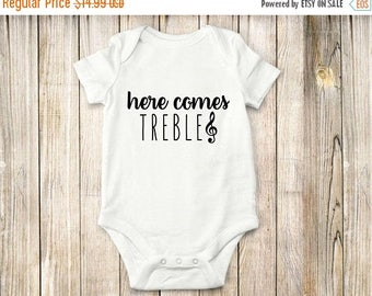 ON SALE Music, Treble, Onesie, Bodysuit, shirt, baby, children clothing, children, funny