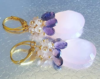 New! Pink Chalcedony with Iolite and Morganite Gemstone Cluster Earrings Gift for Her