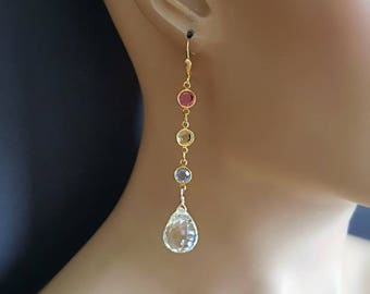 New! Light Yellow Topaz Long Drop Earrings with Bezel Set Crystal Connector on Gold Filled Leverbacks Gift For Her