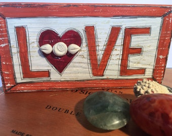 Wood block mixed media artwork- encaustic love sign