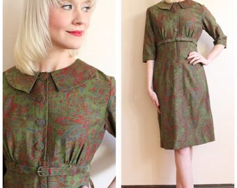 1950s Dress // McKettrick Printed Silk Dress // vintage 50s dress