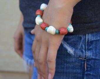 Chunky bracelet shell turquoise vintage boho bohemian jewelry white blue reddish beaded bracelet gypsy bracelet tribal gift for her summer