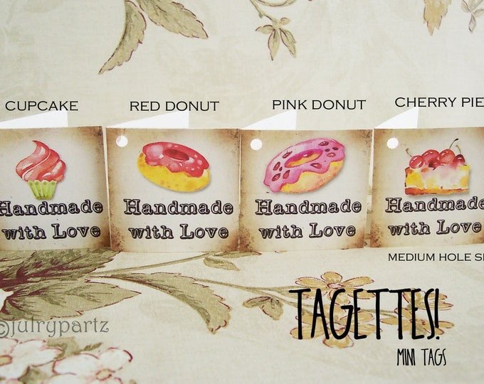 45-TAGETTES•SWEETS Mix•Mini Tags•Hang tags•Gift Tags•Favor Tags•Paper Tags•Price Tags•Clothing Tags
