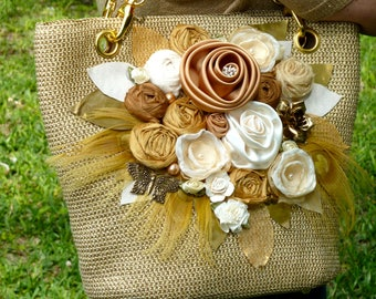Gold Linen Tote Bag Purse with flowers OOAK