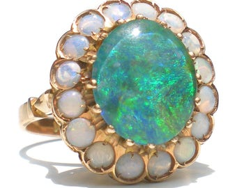 Black Opal Triplet Cabochon Ring on 14KT Gold 1920s Art Deco Ornate Structured High Profile Surrounded by White Opals