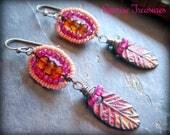 RESERVED Rustic Handmade Artisan Clay Earrings, Leaf Earrings, Hessonite Garnet Earrings, Pink Chalcedony Earrings, Seed Bead Earrings