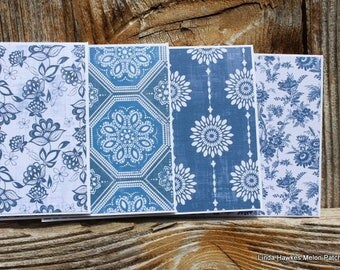 Blue and White Toile (1) Handmade Note Card Set