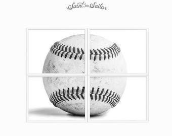 WEEKEND SALE Set of Four Baseball Hardball on white Photo Prints, 4 sections to make one whole ball when framed.