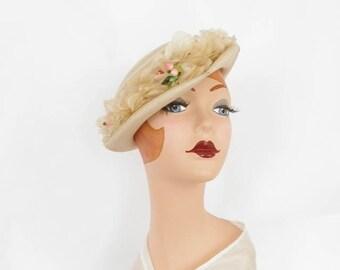 1940s vintage hat, ivory tilt,  heart shape, flowers