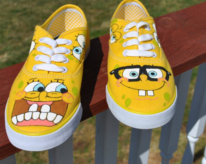 Custom Hand Painted Sponge Bob on white Vans shoes included in price.