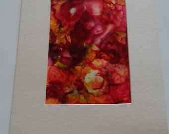 Matted Alcohol Ink Painting
