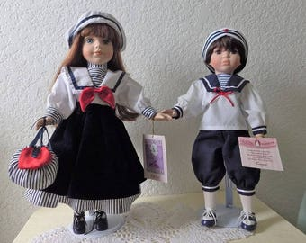 Collectible Memories Girl and Boy Porcelain Dolls, Sold by Kmart in the early 90s. Just de-boxed.