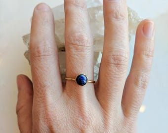Lapis Lazuli and Gold Ring - lapis and gold ring - lapis ring - blue and gold ring - gemstone ring - stacking ring - Lapis Lazuli ring