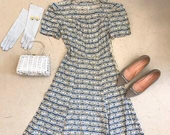"1940's ""Gone Sailing"" cotton boat print dress"