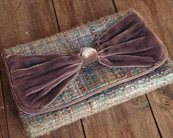 Slate Gray, Teal and Beige Twill Clutch with Velour Bow