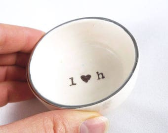 CUSTOM VALENTINE GIFT for newly engaged couple or married couple gift, wedding ring dish custom printed text gold rim, stocking stuffer,