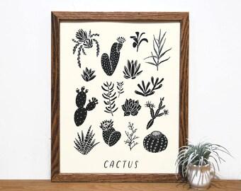 Cactus Chart   Succulent Print   Botanical Art   Black and White