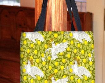 Tote Bag, Cockatoos and Lemons, Art Nouveau, Book Bag, Grocery Bag, Shopping Bag, Parrots, Tropical Fun