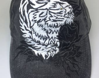 Hand Painted Tattoo Illustratrated Vintage Tiger Style Acud wash grey Hat (Free Size 100% Cotton)