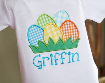 Easter Eggs Personalized Embroidered Toddler Tee Shirt - Boy - Short or Long Sleeves - Colorful Gingham
